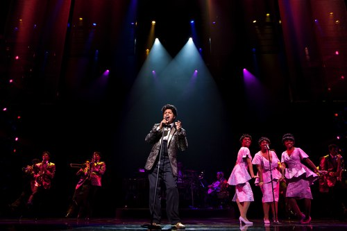 Chester Gregory (James Early) and the company of DREAMGIRLS.