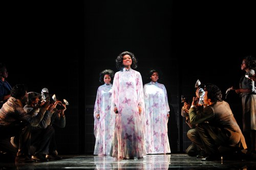 Adrienne Warren (Lorrell), Syesha Mercado (Deena), Moya Angela (Effie) and the company of DREAMGIRLS.