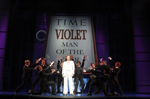 Dee Hoty as Violet Newstead and the Cast of 9 to 5: The Musical.