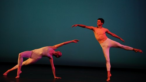 IU Senior Dance Major Laura Hunter and IU Dance Faculty Member Justin Zuschlag perform in Bella Lewitzky's 'Suite Satie'. The reconstruction of this work was supported by the NEA, American Masterpieces.