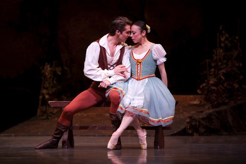 Pacific Northwest Ballet principal dancers Lucien Postlewaite as Albrecht, and Kaori Nakamura as Giselle, in PNB's world premiere staging of Giselle.