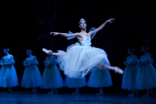 Pacific Northwest Ballet principal dancer Maria Chapman as Myrtha, queen of the Wilis, with company dancers in PNB's world premiere staging of Giselle.