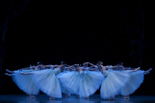 Pacific Northwest Ballet company dancers as the ghostly Wilis in PNB's world premiere staging of Giselle.