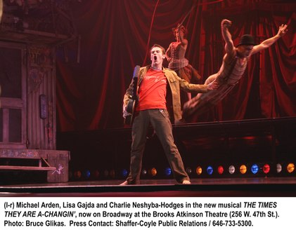 Michael Arden, Lisa Gajda and Charlie Neshyba-Hodges in The Times They Are A Changin'