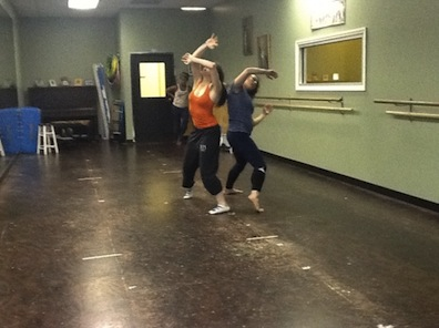 Lindsay Leonard and Nicolette Miller in rehearsal. Photo credit: Omar Raja.