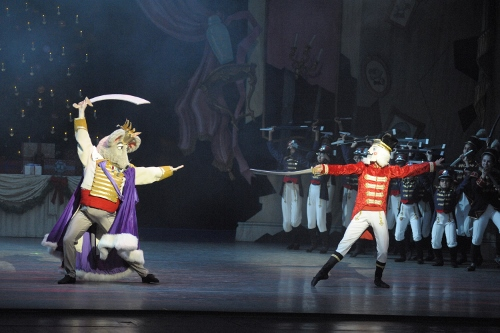 Justin Barbour as the Mouse King and Austin Dowdy as the Nutcracker Doll in IU Ballet Theater's 'The Nutcracker'. Photo courtesy of IU Ballet Theater.