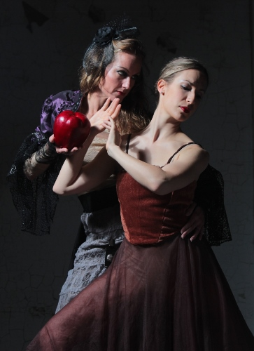 Brooke Wesner as the wicked stepmother and Jennifer Safonovs as Snow White in Neos Dance Theatre's 'Snow White and the Magic Mirror: A Grimm Tale'.