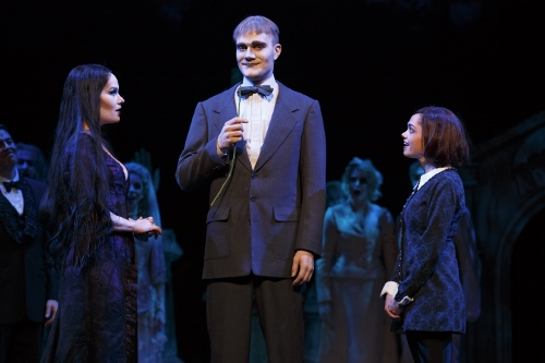 KeLeen Snowgren (Morticia), Dan Olson (Lurch) and Jennifer Fogarty (Wednesday) in the 2013-2014 National Tour of The Addams Family.