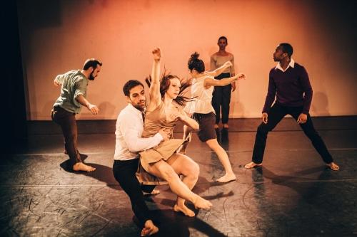 (from left-right) Larry Daniels, Ben Wolk, Mary Madsen, Rosie DeAngelo, Megan Bascom, Aaron R. White in Megan Bascom & Dancers' kNEW kNOW.