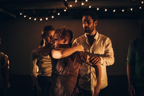Megan Bascom, Sammy Donahue, & Ben Wolk in Megan Bascom & Dancers' kNEW kNOW at Triskelion Arts Aldous Theater.