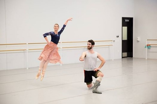 ​Lauren Fadeley Veyette & Ian Hussey rehearsing Jerome Robbins' 'Other Dances'
