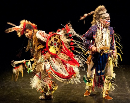 Thunderbird American Indian Dancers' 36th Annual Dance Concert and Pow-Wow at Theater for the New City, NYC, January 28 to February 6, 2011. (L) Carlos Ponce/Eagle Feather (Mayan) and (R) Alan Browne - Shooting Star (Delaware/Dutch)
