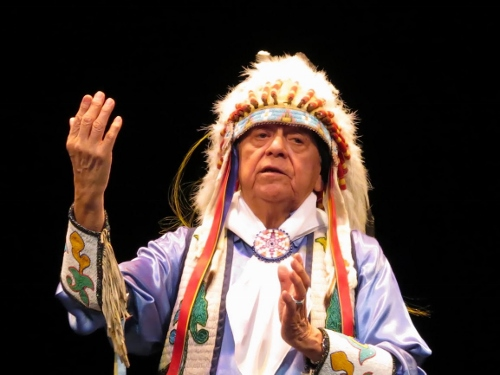 POW-WOW—Louis Mofsie is Master of Ceremonies in Thunderbird American Indian Dancers' Dance Concert and Pow-Wow, presented by Theater for the New City January 31 to February 9, 2014.
