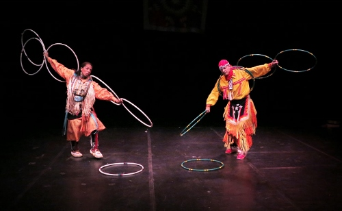 Thunderbird American Indian Dancers' 40th annual Dance Concert and Pow-Wow, Theater for the New City, 2015. Hoop Dance Duet with Michael Taylor - Dancing Wolf (Choctaw/French) and Marie McKinney (Cherokee and Seminole).