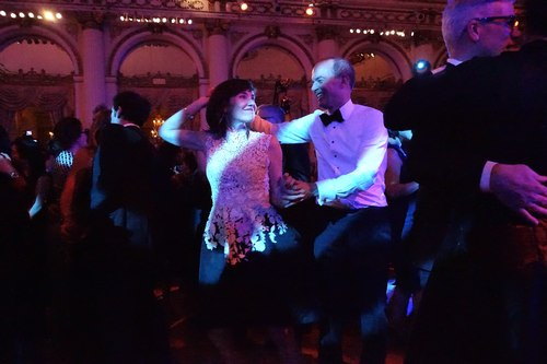 Social dancing at the Ballet Hispanico 2015 Spring Gala - Milena Alberti-Pérez and David Pérez, recipients of Ballet Hispanico's Civic Inspiration Award, inspire on the dance floor.