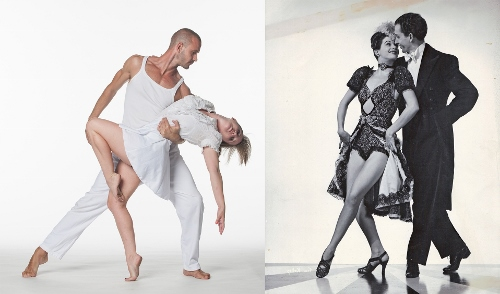 From 'Tap Dance Widows Club,' live dancers from Brandenburg on left and John Zerby and Inga on right.