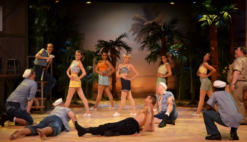 The Seabees admire the exercising nurses during 'There is Nothing Like A Dame' in Beef & Boards Dinner Theatre's production of South Pacific. The Rodgers & Hammerstein musical is now on stage through Oct. 4. Tickets include Chef Odell Ward's dinner buffet.