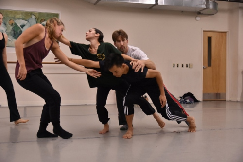 GroundWorks DanceTheater dancers rehearsing David Shimotakahara's 'Shadowbox.'
