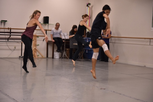[Foreground] GroundWorks DanceTheater's Michael Marquez, Lauren Garson, and Annika Sheaff. [Background]<br>Composer Oded Zehavi, Violinist Mirabai Weismehl Rosenfeld.