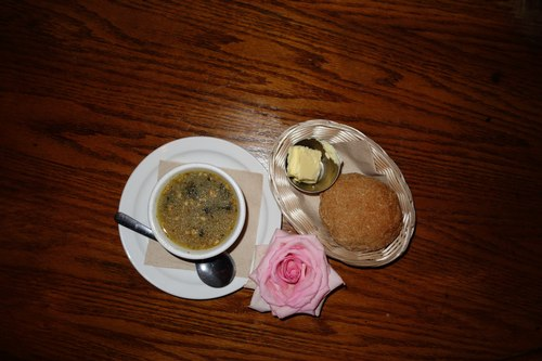 The Mercury Cafe's 'Medicinal Turkey Soup' with bread