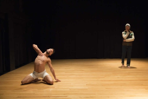 "Emspace's Chad Dawson (front) and Kegan Marling (rear) in Erin Mei-Ling Stuart's ""Whether to Weather."""