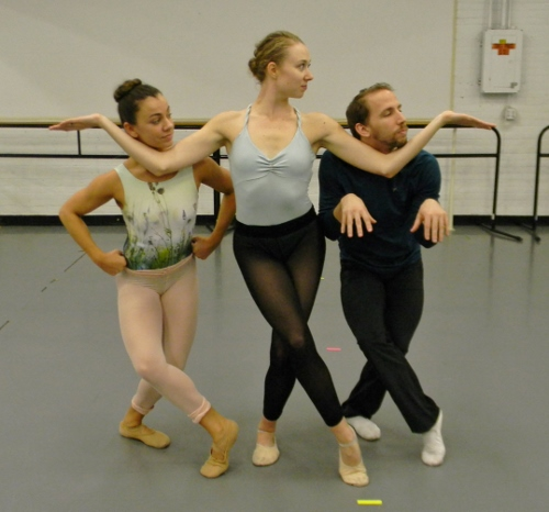 Rochester City Ballet dancers Shannon Rodriguez, Kelly Moeller and Ben Rabe rehearsing Jimmy Orrante's 'The Ugly Duckling.'