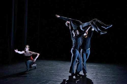 BalletX dancers Gary W. Jeter II, Chloe Felisina (in red top), Richard Villaverde, Zachary Kapeluck, Daniel Moyo in Yin Yue's 'One Heartbeat Above One Shadow Below.'