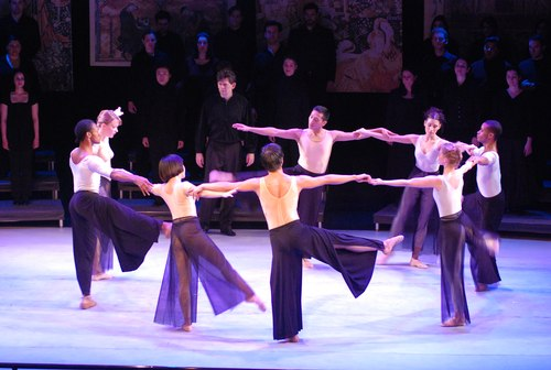 Members of the Nilas Martins Dance Company perform Puccini's Messa di Gloria in a production for dancers and singers staged by choreographer Stephen Pier at Dicapo Opera Theatre