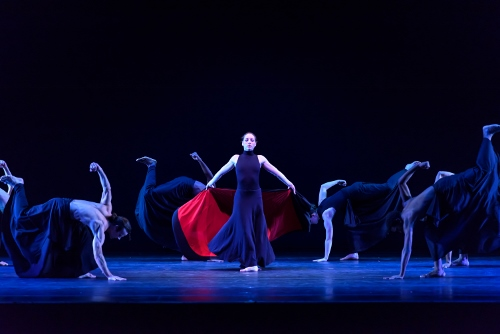 Verb Ballets' Christina Lindhout, center and troupe in Heinz Poll's 'Bolero.'