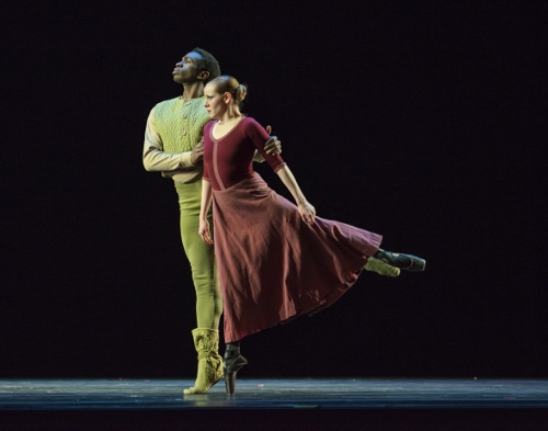 "Verb Ballets' Nicholas Rose and Megan Buckley in Heinz Poll's ""Elegiac Song."""
