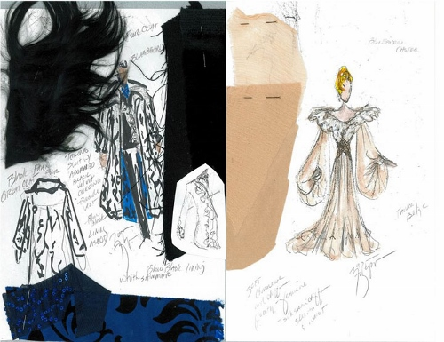 Left: Bluebeard Costume Sketch, by Mark A Zappone – Right: Judith Costume Sketch, by Mark A Zappone.
