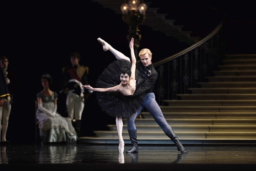 "Yuan Yuan Tan (as Odile) and Tiit Helimets (as Prince Seigfried) in San Francisco Ballet's ""Swan Lake""."