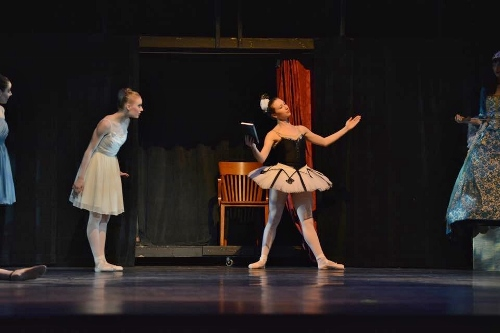 Cleveland Ballet's Lauren Stenroos as Swanilda (L) and Elena Cvetkovich as Coppélia (R) in Ramón Oller's 'Coppélia.'