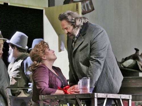 Gwyn Hughes Jones (Dick Johnson) and Patricia Racette (Minnie) in 'La Fanciulla del West' (Girl of the Golden West).