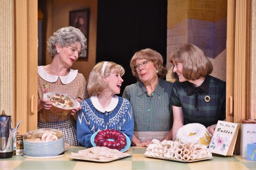 The zany Lutheran ladies (from left), Vivian (Licia Watson), Signe (Lindsay Sutton), Mavis (Karen Pappas) and Karin (Dawn Trautman) prepare to serve another meal in the church basement in Beef & Boards Dinner Theatre's production of 'Church Basement Ladies.' The hilarious musical comedy is live on stage through Aug. 21.