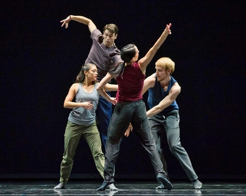 Hubbard Street Dancers in N.N.N.N. by William Forsythe, from left: Alicia Delgadillo, Andrew Murdock, Ana Lopez, and Florian Lochner.