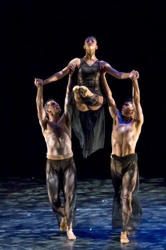 "Oakland Ballet's Brent Whitney, Evelyn Turner and Vincent Chavez in Janice Garrett and Charles Moulton's ""Divining."""