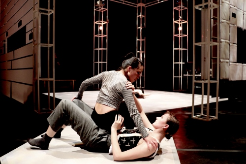 "Shanon Kurashige (top) and Katharine Hawthorne (bottom), in Liss Fain's ""Tacit Consent."""