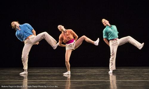 Dancers (L-R) Nicholas Coppula, Amy Ruggiero and Daniel Baker in Twyla Tharp's 'Brahms Paganini.'