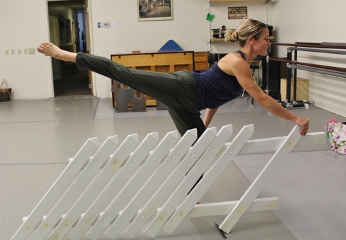 "GroundWorks DanceTheater's Lauren Garson rehearsing Beth Corning's ""At Once There Was a House."""