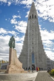 Directly across the street from the Café Loki, a statue of Leif Erikson stands before Reykjavik's landmark Hallgrímskrkja church.