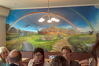 Café Loki's full wall mural of the aesir (ancient Norse gods).