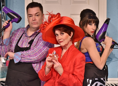 Suspected of murdering an old lady above the salon are (from left) Tony Whitcomb (Daniel Klingler), Mrs. Eleanor Shubert (Suzanne Stark) and Barbara DeMarco (Jenny Reber) in Beef & Boards Dinner Theatre's 2017 Season opener, Shear Madness. Now on stage through Jan. 29, this madcap murder mystery takes place in a not-so-typical Indianapolis hair salon – and the audience decides how it ends!