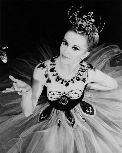 Violette Verdy costumed for George Balanchine's 'Emeralds.'