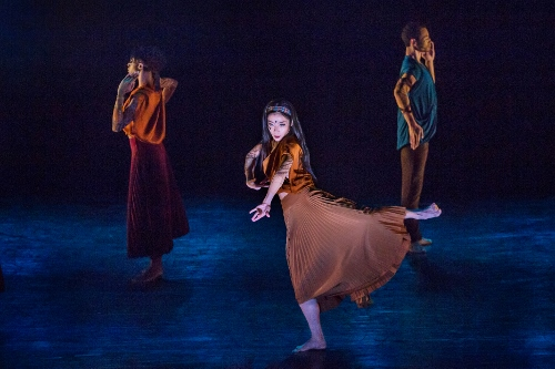 "Xin Ying (center), Leslia Andrea Williams, and Abdiel Jacobsen in Sidi Larbi Cherkaoui's ""Mosaic."""