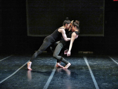 'Terra dei Fuochi / Land of Fires', presented by La MaMa, choreographed and directed and by Bianca Falco (Napoli, Campania - NYC) and composed by Alberto Falco (Napoli, Campania). L-R: Laura Orfanelli, Bianca Delli Priscoli.