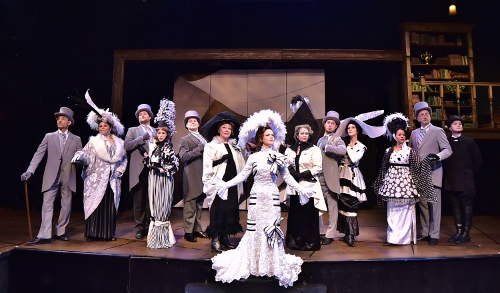 Eliza Doolittle (Kimberly Doreen Burns), center, joins high society for the races at Ascot in Beef & Boards Dinner Theatre's production of My Fair Lady, now on stage through May 14. The Tony Award winning musical is returning to the Beef & Boards stage after a 20-year hiatus.