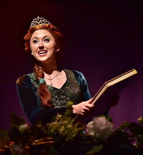 "rincess Fiona (Emily Grace Tucker) dreams of her own storybook happy ending as she waits in her tower singing ""I Know It's Today"" in Beef & Boards Dinner Theatre's premiere production of 'Shrek, The Musical.'"