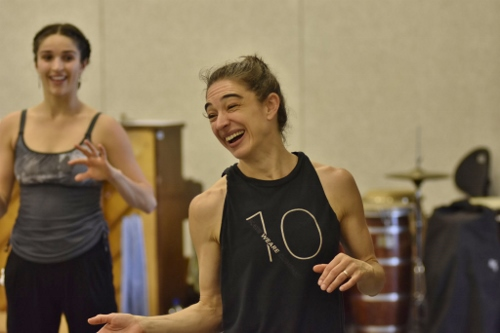 "Choreographer Monica Bill Barnes (foreground) in-studio with GroundWorks' dancer Gemma Freitas Bender creating ""Tonight's the night""."