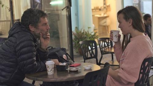 Bobbi Jene talking with mentor and artistic director of Batsheva Dance company, Ohad Naharin.